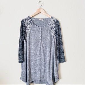 Lori Goldstein LOGO Lace Button Blouse